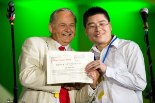2013 winner Wei Lv, with committee chairman Malcolm Heggie (photos provided by Luiz Depine de Castro of the Brazilian Carbon Association and Chair C2013)